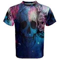 Colorful Space Skull Pattern Men s Cotton Tee