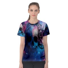 Colorful Space Skull Pattern Women s Sport Mesh Tee