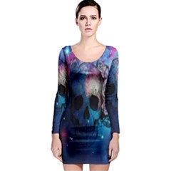 Colorful Space Skull Pattern Long Sleeve Bodycon Dress