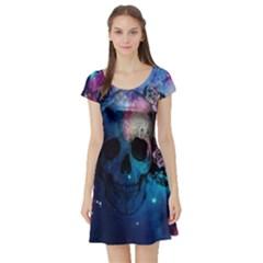 Colorful Space Skull Pattern Short Sleeve Skater Dress