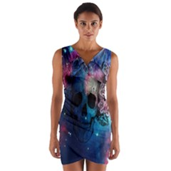 Colorful Space Skull Pattern Wrap Front Bodycon Dress