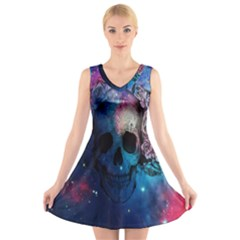Colorful Space Skull Pattern V-Neck Sleeveless Skater Dress
