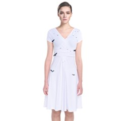 Fly Short Sleeve Front Wrap Dress
