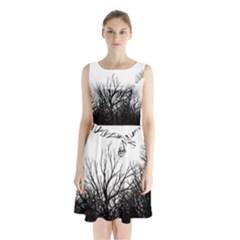 Forest Sleeveless Chiffon Waist Tie Dress