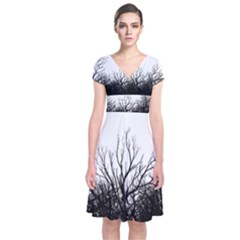 Forest Short Sleeve Front Wrap Dress