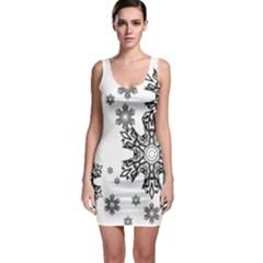 Black and white snowflakes Sleeveless Bodycon Dress