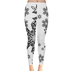 Black and white snowflakes Leggings