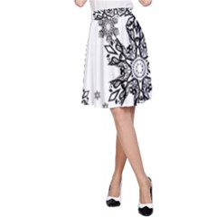 Black and white snowflakes A-Line Skirt
