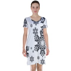 Black and white snowflakes Short Sleeve Nightdress