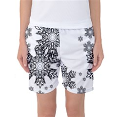 Black and white snowflakes Women s Basketball Shorts