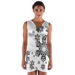 Black and white snowflakes Wrap Front Bodycon Dress