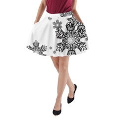 Black and white snowflakes A-Line Pocket Skirt