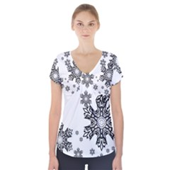 Black and white snowflakes Short Sleeve Front Detail Top