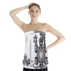 Black and white snowflakes Strapless Top