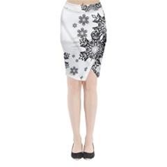 Black And White Snowflakes Midi Wrap Pencil Skirt