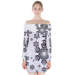 Black And White Snowflakes Long Sleeve Off Shoulder Dress