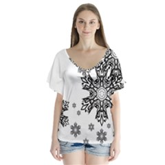 Black And White Snowflakes Flutter Sleeve Top