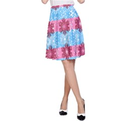 Pink Snowflakes Pattern A-Line Skirt