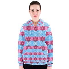 Pink Snowflakes Pattern Women s Zipper Hoodie