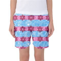 Pink Snowflakes Pattern Women s Basketball Shorts