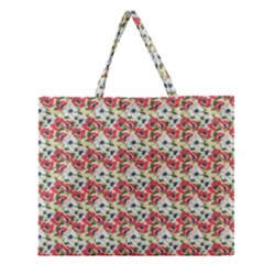 Gorgeous Red Flower Pattern  Zipper Large Tote Bag