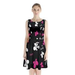 Butterfly Sleeveless Chiffon Waist Tie Dress