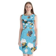 Bear Aircraft Sleeveless Chiffon Dress