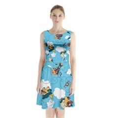 Bear Aircraft Sleeveless Chiffon Waist Tie Dress