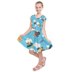 Bear Aircraft Kids  Short Sleeve Dress