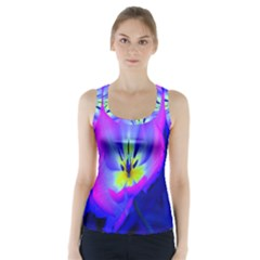Blue And Purple Flowers Racer Back Sports Top