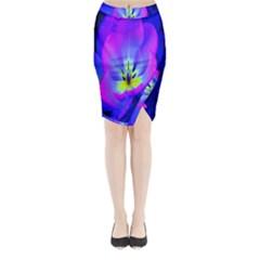 Blue And Purple Flowers Midi Wrap Pencil Skirt