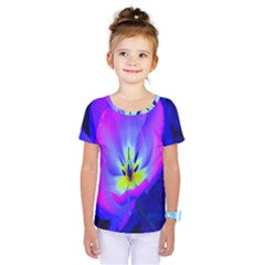 Blue And Purple Flowers Kids  One Piece Tee