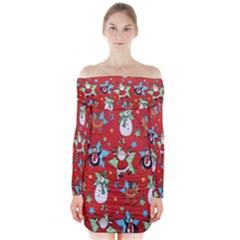 Xmas Santa Clause Long Sleeve Off Shoulder Dress