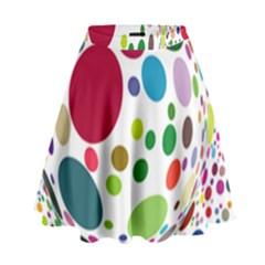 Color Balls High Waist Skirt