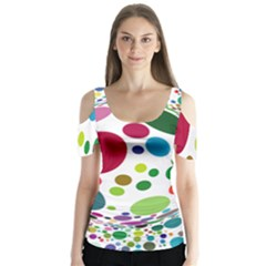 Color Balls Butterfly Sleeve Cutout Tee