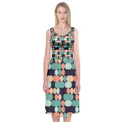 Coral Mint Color Style Midi Sleeveless Dress