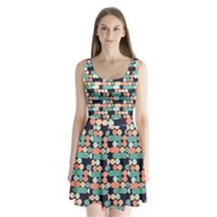 Coral Mint Color Style Split Back Mini Dress