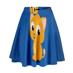 Cute Cat High Waist Skirt