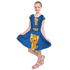 Cute Cat Kids  Short Sleeve Dress