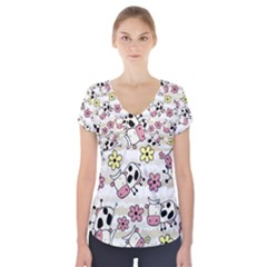 Cow Animals Short Sleeve Front Detail Top