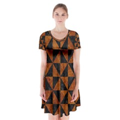 Triangle1 Black Marble & Brown Marble Short Sleeve V Neck Flare Dress