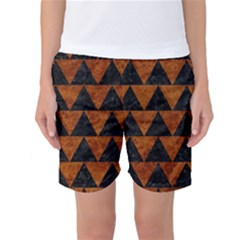 Triangle2 Black Marble & Brown Marble Women s Basketball Shorts