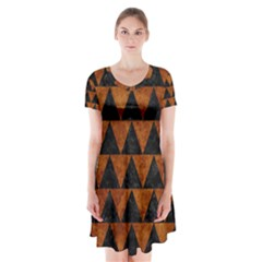 Triangle2 Black Marble & Brown Marble Short Sleeve V Neck Flare Dress