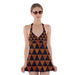 Triangle3 Black Marble & Brown Marble Halter Swimsuit Dress