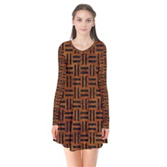 Woven1 Black Marble & Brown Marble (r) Long Sleeve V Neck Flare Dress