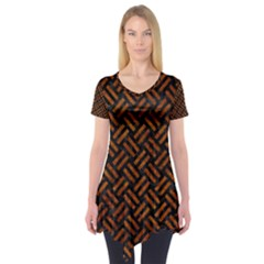 Woven2 Black Marble & Brown Marble Short Sleeve Tunic