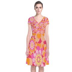 Abstract Art Background Colorful Short Sleeve Front Wrap Dress