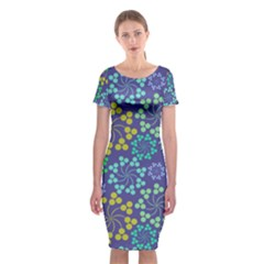 Abstract Art Background Colorful  Classic Short Sleeve Midi Dress