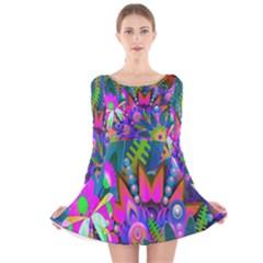 Abstract Digital Art  Long Sleeve Velvet Skater Dress