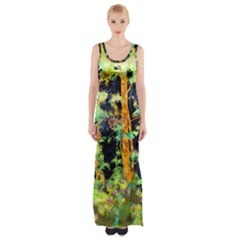Abstract Trees Flowers Landscape Maxi Thigh Split Dress